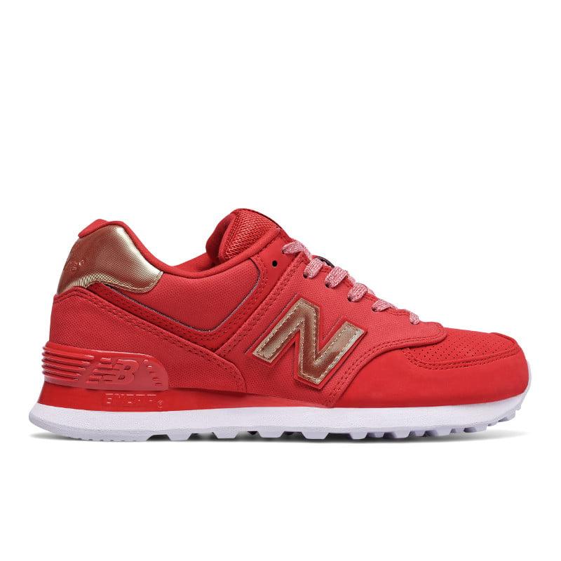 New Balance WL574VJA: 574 Team Red Metallic Gold Sneaker by New Balance