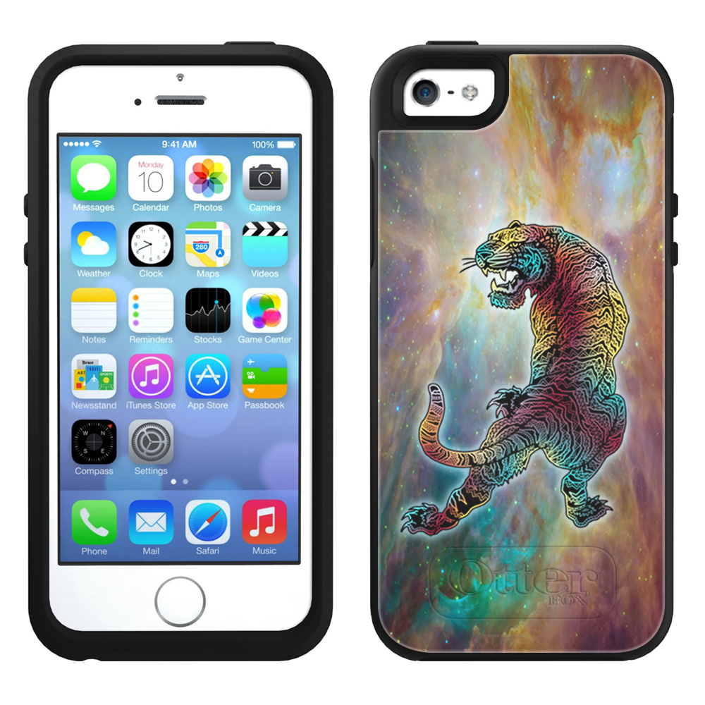 SKIN DECAL FOR OtterBox Symmetry Apple iPhone SE Case - Nebula Astral Rainbow Tiger DECAL, NOT A CASE