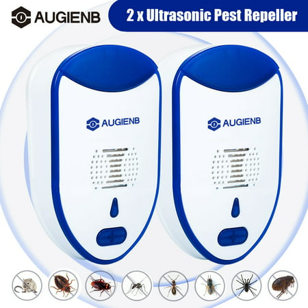 [2019 NEW UPGRADED] AUGIENB 2-Pack - Ultrasonic Pest Repeller - Electronic Plug - Pest Control Ultrasonic - Best Repellent for Cockroach Rodents Flies Roaches Ants Mice Spiders