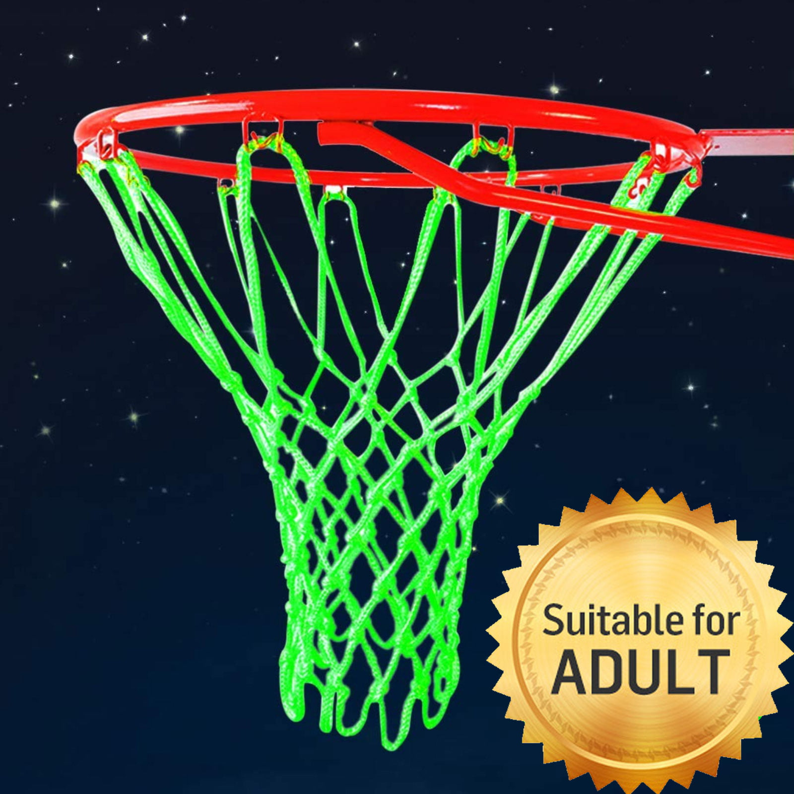 Ruolan Outdoor Basketball Net Glow in The Dark Nylon Glowing Basketball Net Anti Whip Heavy Duty 12 Loops Standard Size Night Basketball Sports Gift for Kids Boys Outdoor Sports Pool School