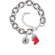3-D Red Stocking with Fur and Clear Crystal -S- Pebble Initial Diana Bracelet