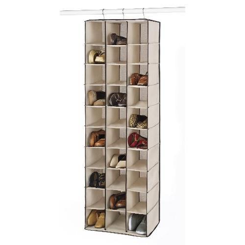 Whitmor 6470-4831 Shoe Rack - Closet Rod - 60 X Shoes - 30 Compartment[s] - Cotton, Canvas, Metal - Espresso Trim