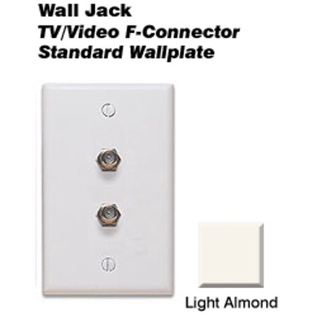 Leviton 80782-T Type 625D Video Standard Wallplate Flush Wall Jack - Light Almond
