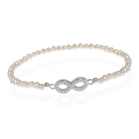 Endless Sparkly Infinity White Pearl Sterling Silver Stretch Bracelet