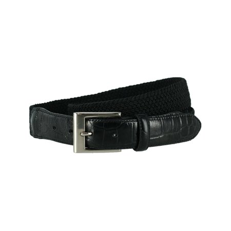 Men's Big & Tall Braided Elastic Stretch Belt with Croc Print End (Lands End Braided Belt)