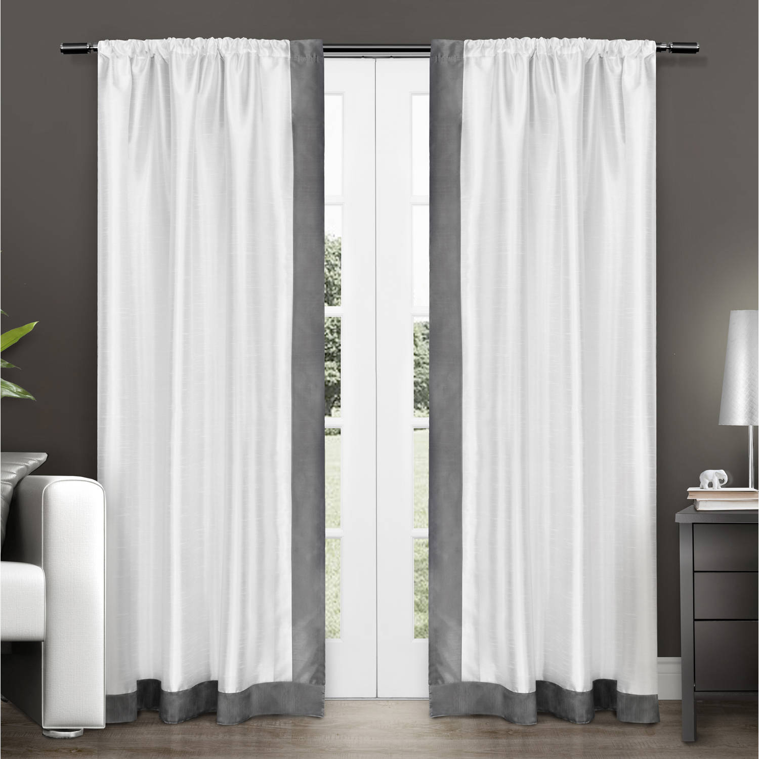 Exclusive Home Grammercy Bordered Faux Silk Window Curtain Panel Pair with Rod Pocket
