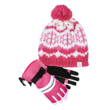 Knit Lurex Snowflake Beanie and Technical Snowboard Glove (4-6) Bundle - Pink Skeleton Gloves