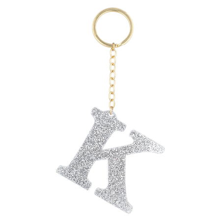 Gold Silver Keychain - Lux Accessories Gold Tone And Silver Glitter Capital K Initial Key Ring Keychain