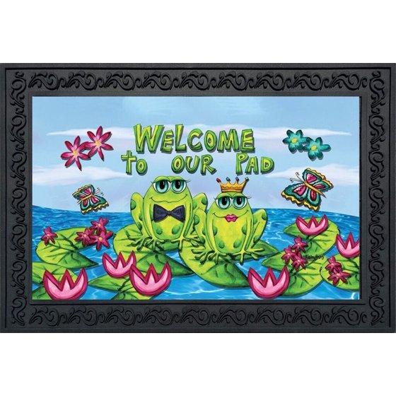 Frog Couple Welcome Summer Doormat Lilypad Pond Indoor