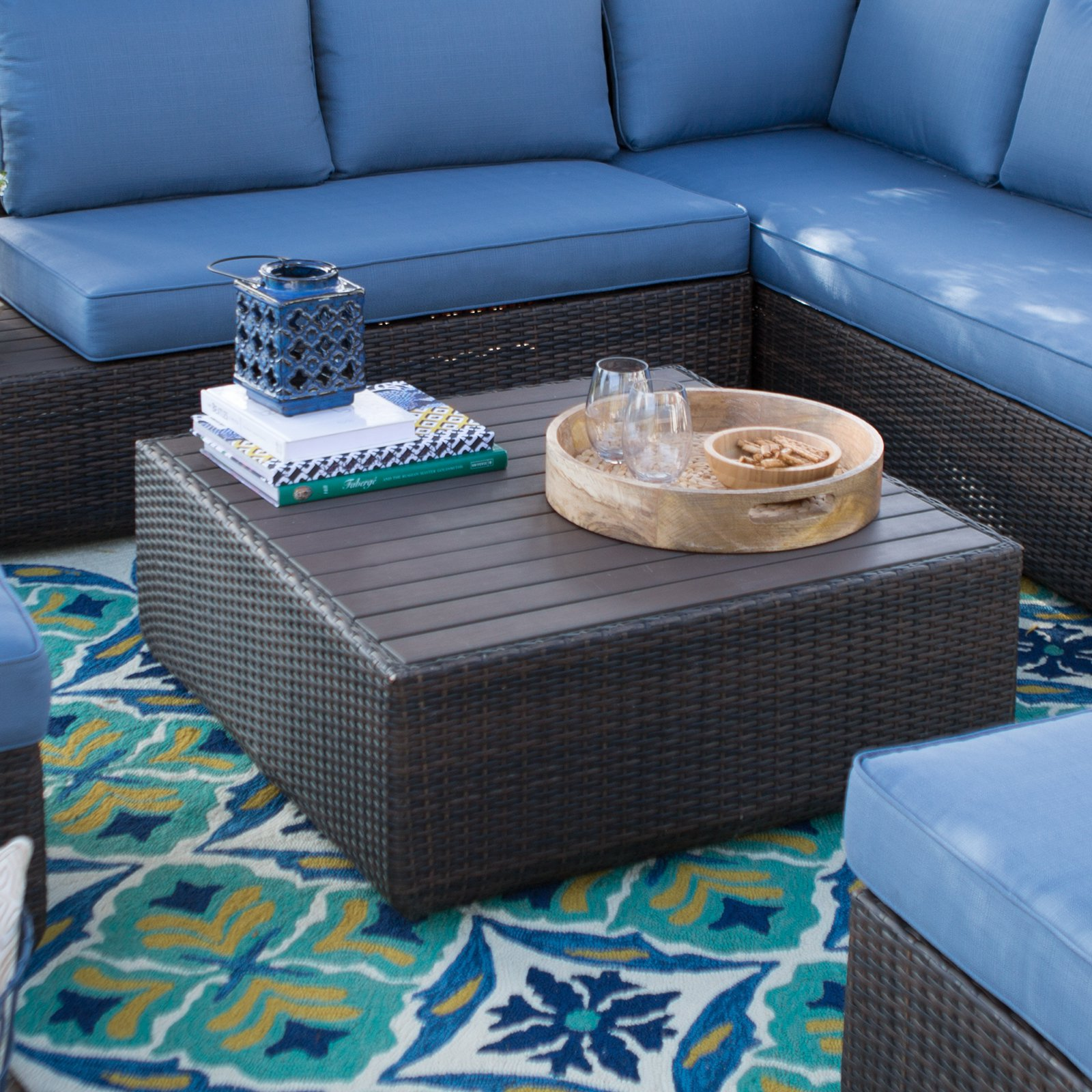 Belham Living Luciana Bay Coffee Table with Resin Wood Top