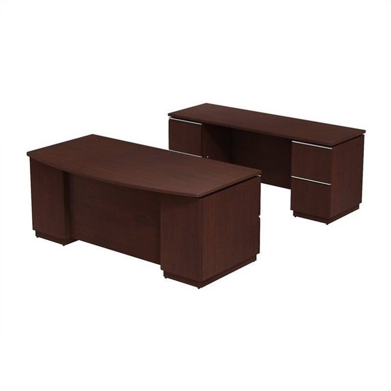 "Bush Business Milano2 72"" Bowfront Desk with Credenza Set by BBF"