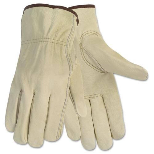 Mcr Safety Durable Cowhide Leather Work Gloves - Large Size - Cowhide Leather - Cream - Durable, Comfortable, Flexible - For Construction - 1 Pair (3215m)
