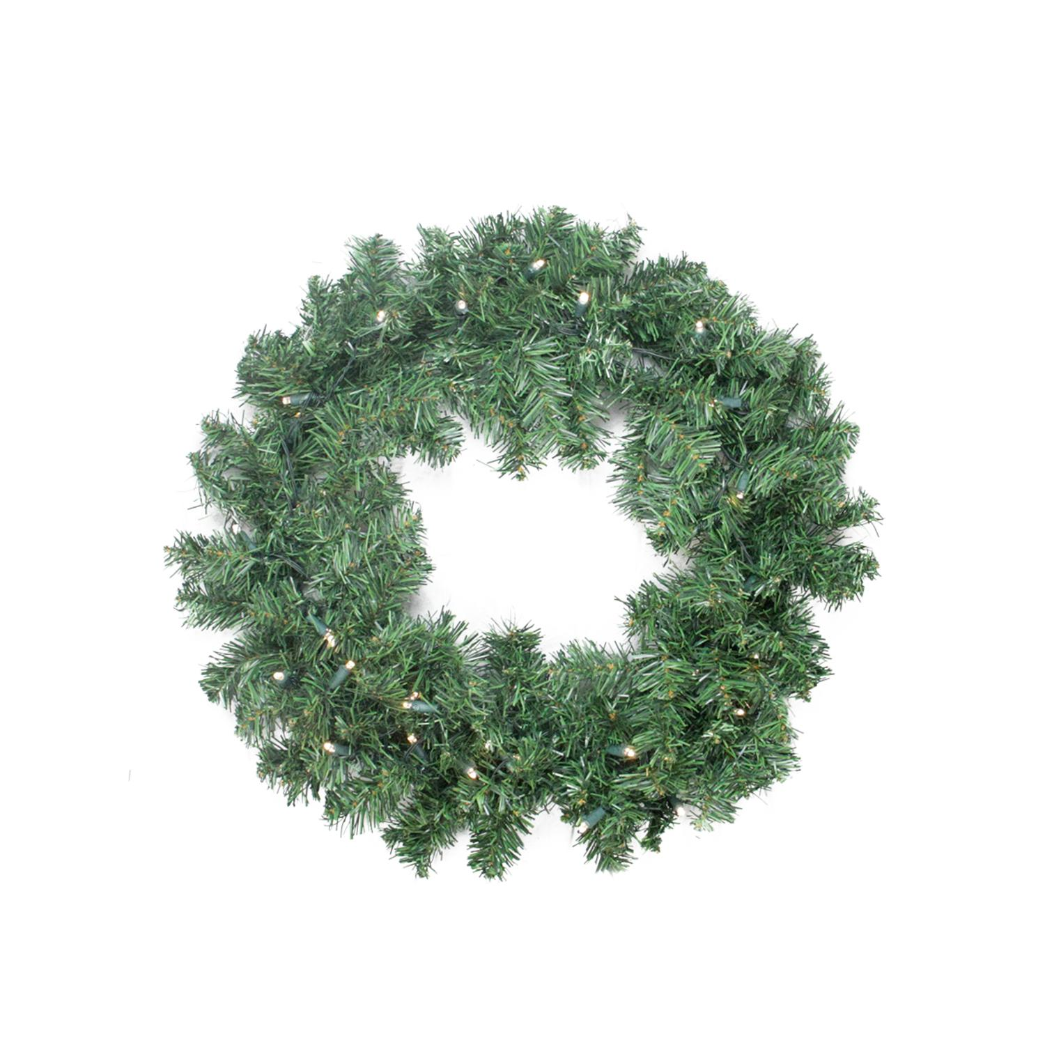 "24"" Battery Operated Pine Artificial Christmas Wreath -  Multi-Function LED Lights"