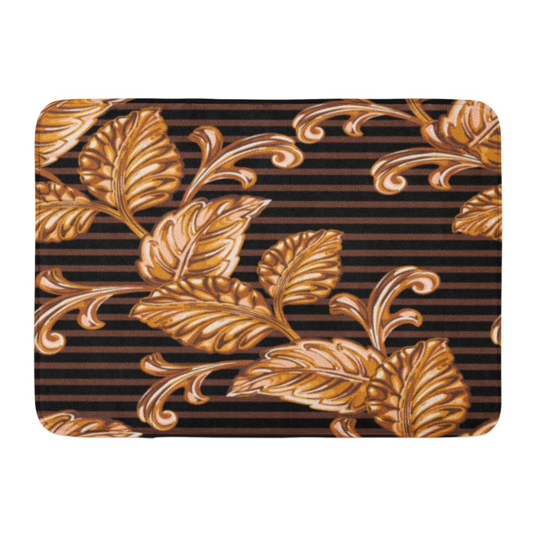GODPOK Border Black Abstract of Bronze Floral Blossom Cell Rug Doormat Bath Mat 23.6x15.7 inch