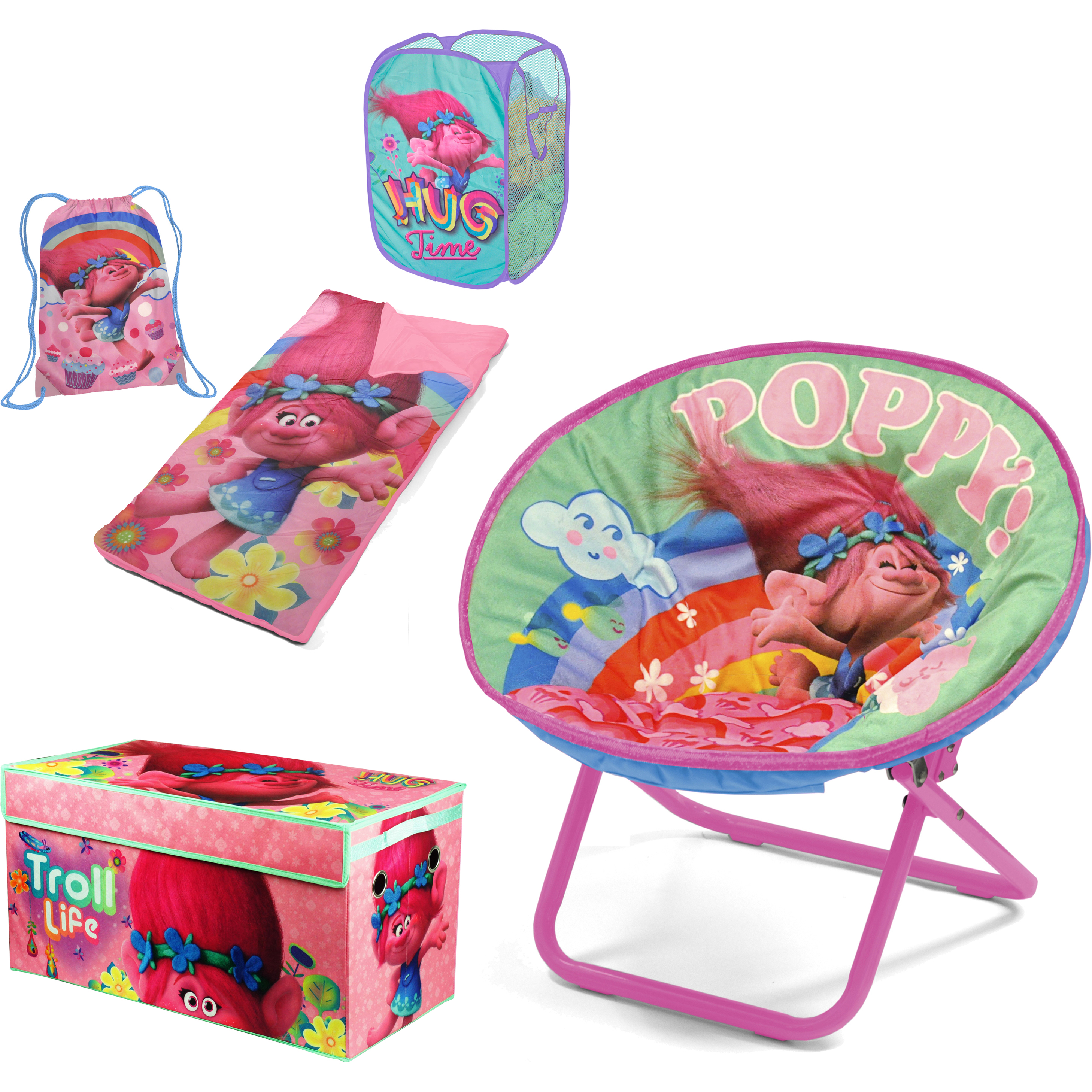 "Dreamworks Trolls ""Find Your Happy Place"" Total Room Decor Collection for Girls"