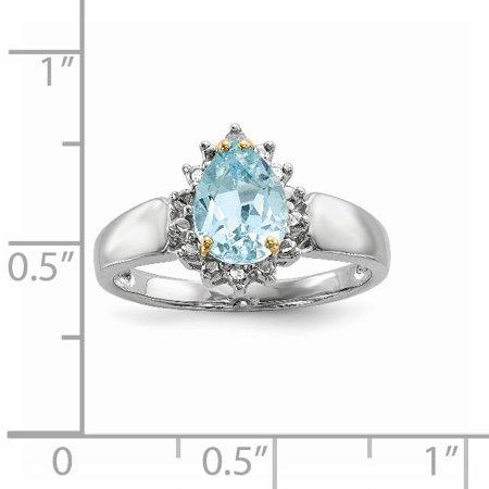 Sterling Silver Sterling Silver & Sky Blue Topaz & Diamond Ring - image 1 of 5