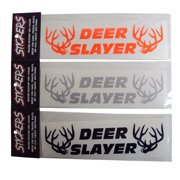 Graphic Designs DEER SLAYER with 2 Buck Heads Vinyl Decal Sticker, 124