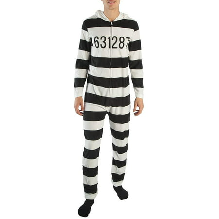 Union Striped Suit (American Rag Jailbird Prison Stripe Union Suit Outfit One Piece Costume)