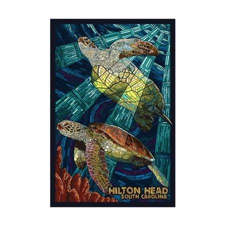 Hilton Head, South Carolina - Mosaic Sea Turtles Print Wall Art By Lantern Press - Mosaic Turtle