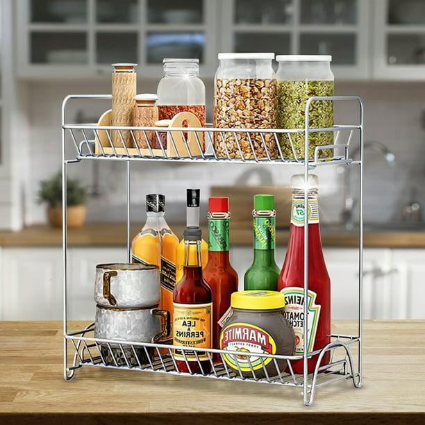 2 Tier Spice Rack Kitchen Cabinet, Spice Organizer For Kitchen Cabinet