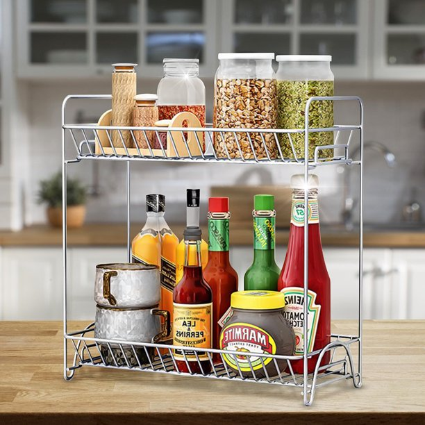 2 Tier Spice Rack Kitchen Cabinet, Spice Racks For Kitchen Cabinets