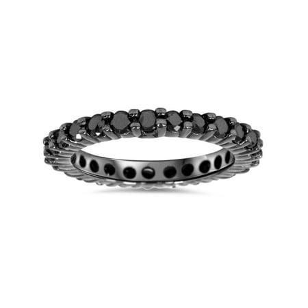 1ct Black Diamond Eternity Wedding Ring 14K Black Gold