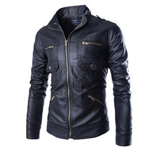 Men Long Zipper Collar Neck Leather Jacket (Best Zippers For Leather Jackets)