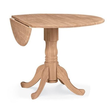 concepts round dual drop leaf pedestal dining table