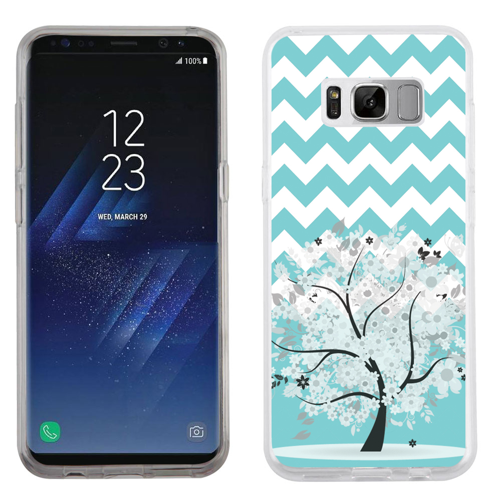 Fit Galaxy S8, OneToughShield ® Slim-Fit Premium TPU Gel Phone Case for Samsung Galaxy S8 - Chevron/Teal/Tree