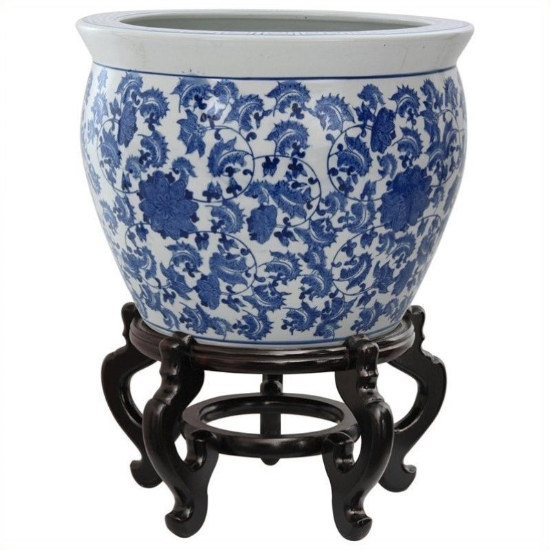 "14"" Floral Blue & White Porcelain Fishbowl"