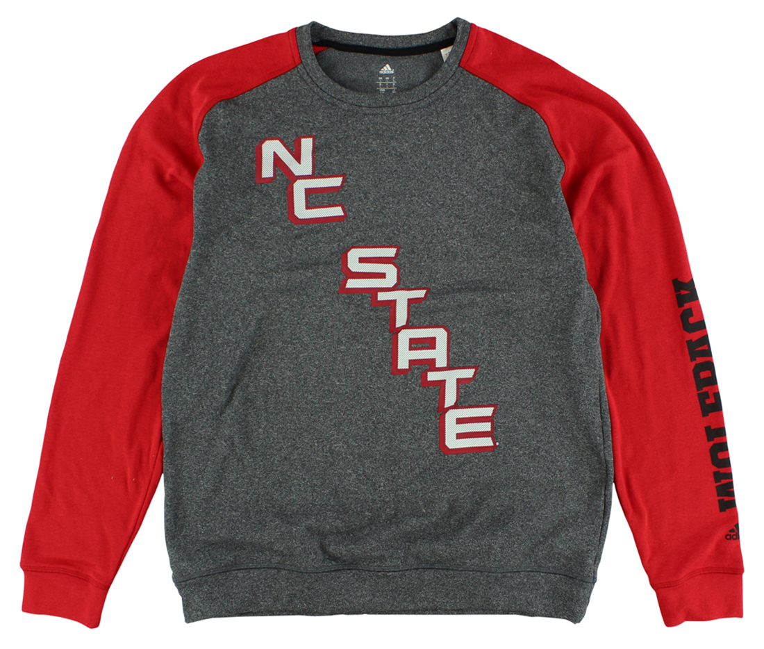 Adidas Mens North Carolina State On The Line Crew Sweatshirt Heather Grey by