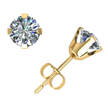 1.00Carat Round Cut Diamond Solitaire Stud Earrings 14k Yellow Gold Prong Setting GH I1