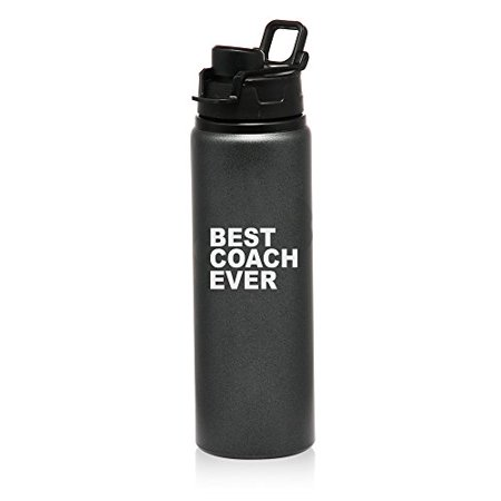 25 oz Aluminum Sports Water Travel Bottle Best Coach Ever (Charcoal)