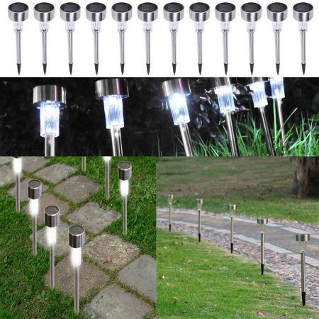 Zimtown 24pcs 5W Garden High Brightness Solar Power LED Lawn Lamps with Lampshades Stailess (Solar Powered Alarm)