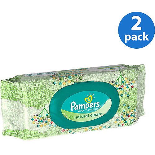 Pampers Natural Clean Wipes Travel Pack 64 Count (Pack of 2)