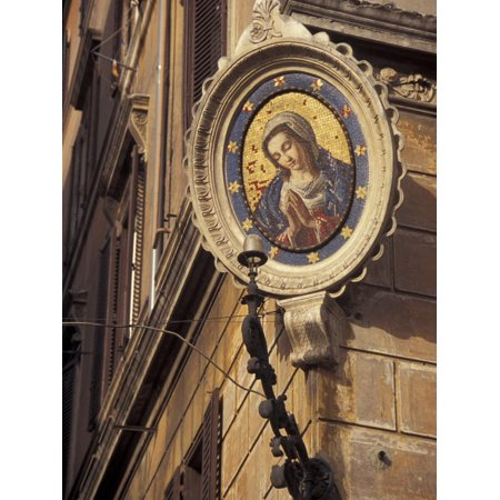 Tile Mosaic on Street Corner at Campo de Fiori, Rome, Italy Print Wall Art By Connie