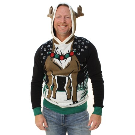 Ugly Christmas Sweater Men's Reindeer Hooded Light Up Pullover Sweatshirt