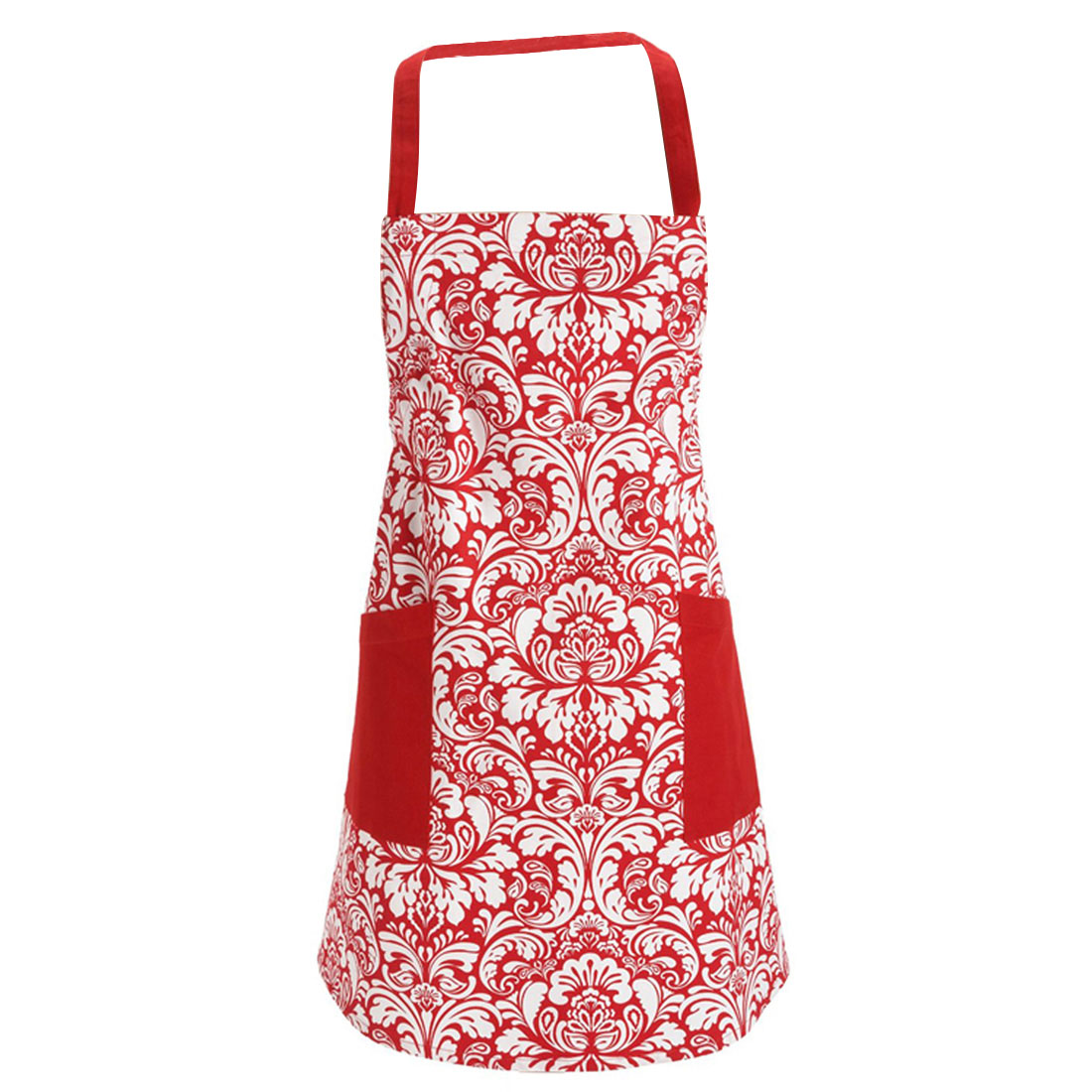100 cotton machine washable kitchen apron cooking apron baking apron with 2 pockets red. Black Bedroom Furniture Sets. Home Design Ideas