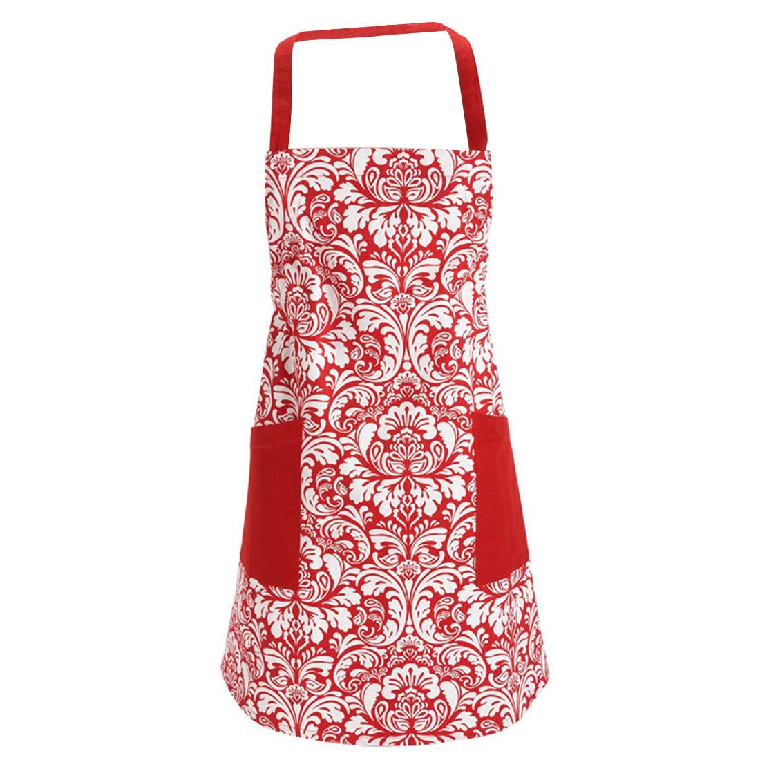 Women Flower Prints Kitchen Restaurant Bib Cooking Pocket Apron Dress Red