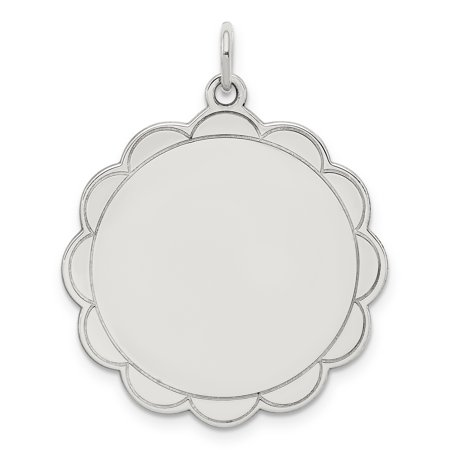 925 Sterling Silver Rh Plt Engraveable Front Back Disc Pendant Charm Necklace Engravable Scalloped Shaped Fine Jewelry For Women Gifts For Her - image 6 of 6