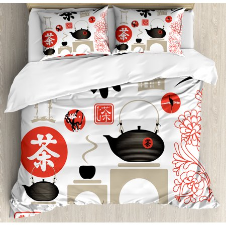 Tea Party King Size Duvet Cover Set  Japanese Design With Cultural Elements Flowers Fuji Mountain Tea Pot  Decorative 3 Piece Bedding Set With 2 Pillow Shams  Vermilion Black Beige  By Ambesonne