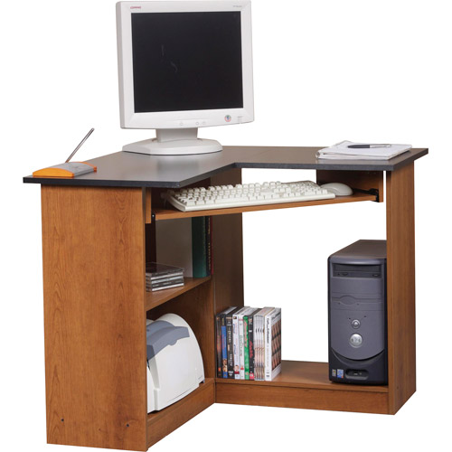 Orion Corner Computer Workstation, Oak and Black