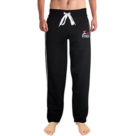 X-2 Men's Active Fleece Joggers Sweatpants Tracksuit Running Athletic Pants 2 Stripes Black