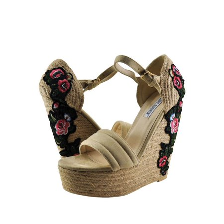 Embroidered Wedge - Cape Robbin Zelda 8 Women's Floral Embroidered Straw Wedges