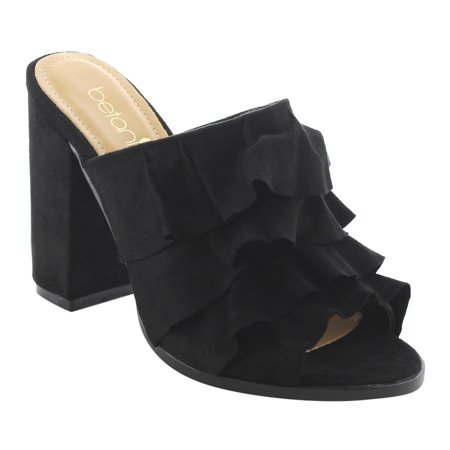 4a1f57e1e7 BETANI FK51 Women s Peep Toe Ruffles Slip On Block Heel Mule Sandals.  Average rating 0out of5stars
