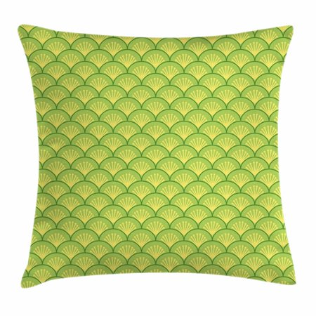 Green Wave - Green Throw Pillow Cushion Cover, Traditional Japanese Floral Wave Pattern Far Eastern Ornament, Decorative Square Accent Pillow Case, 18 X 18 Inches, Apple Green Fern Green Pale Yellow, by Ambesonne