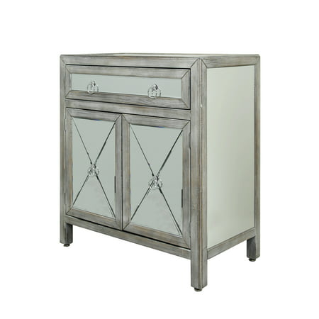 2 Door Single Drawer Mirrored Chest - Weathered Driftwood Finish