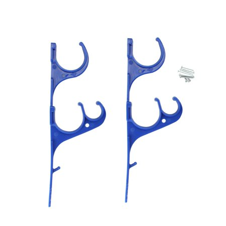 Set of 2 Blue Pole and Vacuum Hose Swimming Pool Accessory Hangers