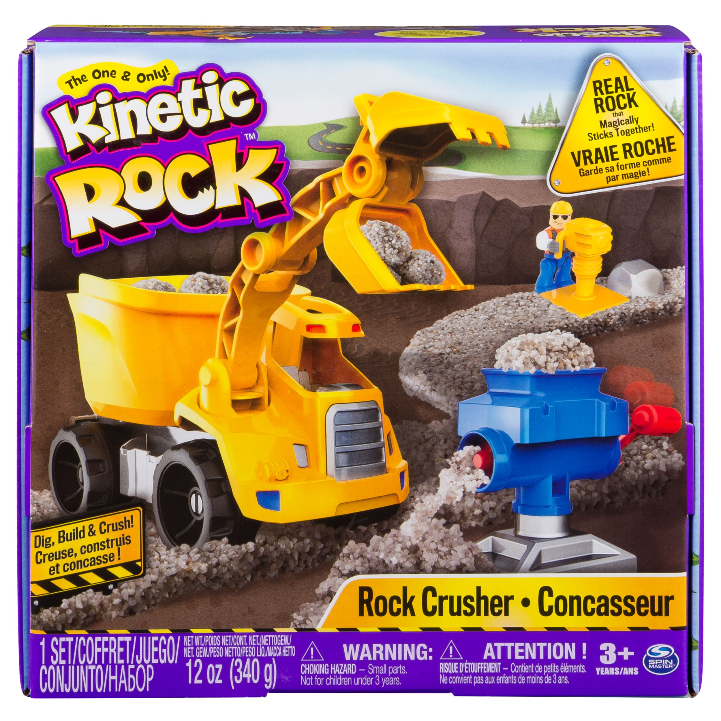 Kinetic Rock ‐ Rock Crusher Toy Kit with Construction Tools, for Ages 3 and Up