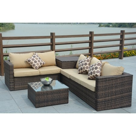Direct Wicker 4 Piece Cushioned Outdoor Rattan Wicker Sofa Sectional Patio Furniture Set ()